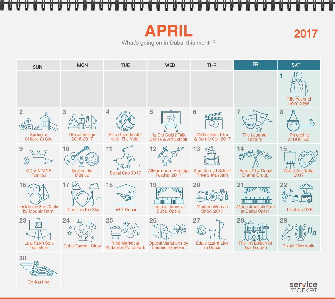 Calendar April Events : Dubai events calendar what s going on this month the