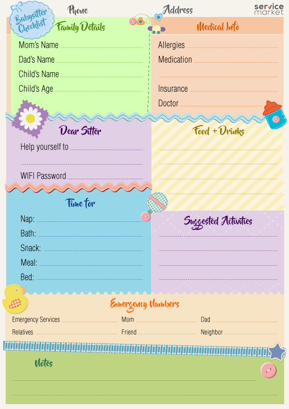 a must-have checklist for the babysitter